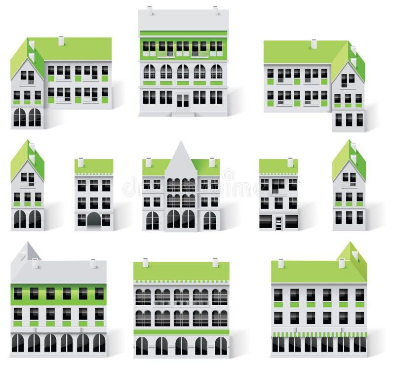 Jogo da criação do mapa da cidade (DIY). Edifícios da parte 9. ilustração stock