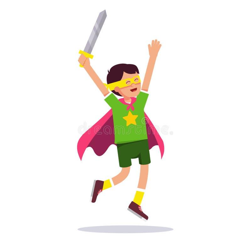 Jogo da criança cosplay com seu traje improvisado ilustração royalty free