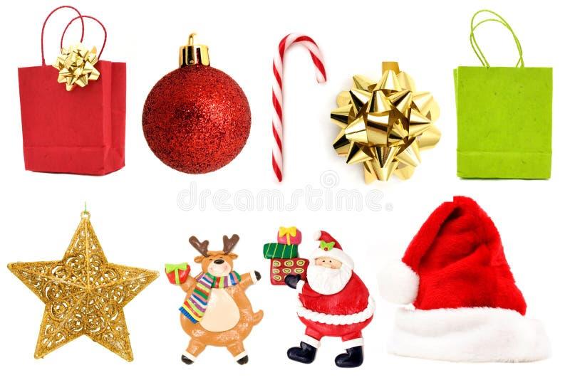 Jogo da decoração do Natal fotos de stock royalty free