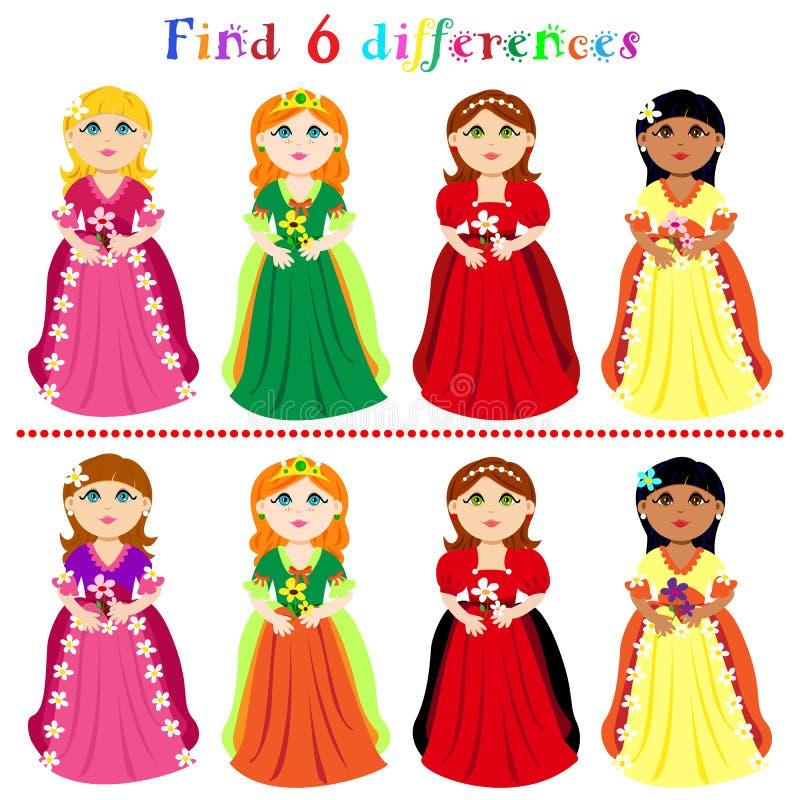 Jogo da diferença com princesas ilustração do vetor