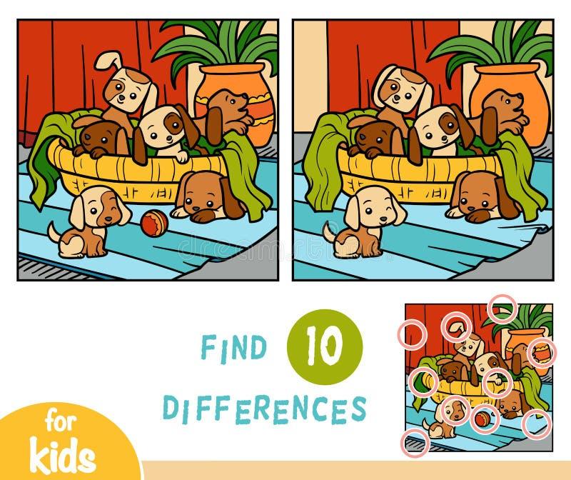 Jogo da educação das diferenças do achado, seis cães ilustração stock
