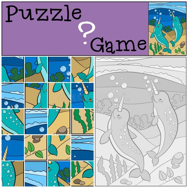 Jogo da educação: Enigma Sorriso bonito pequeno de dois narvais ilustração do vetor