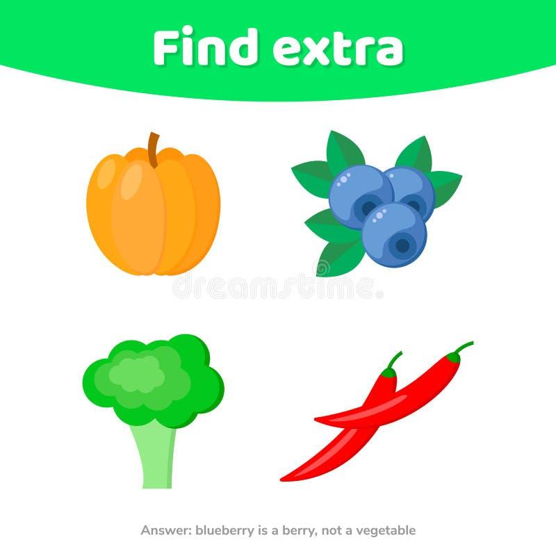 Jogo da educação para crianças prées-escolar Encontre o objeto extra vegetais e bagas ilustração do vetor