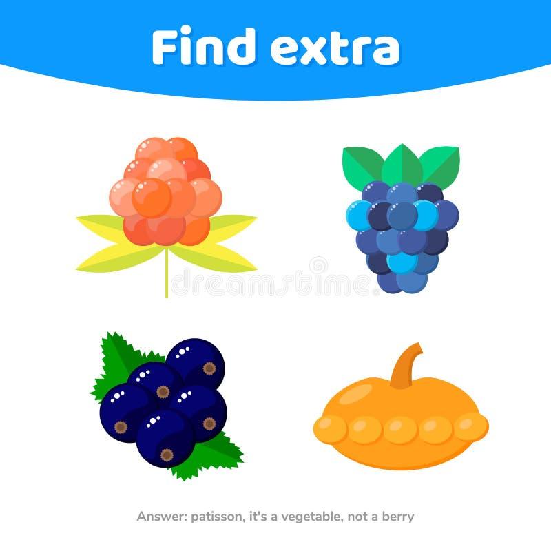Jogo da educação para crianças prées-escolar Encontre o objeto extra vegetais e bagas, patisson, cloudberries, amoras-pretas, cor ilustração stock