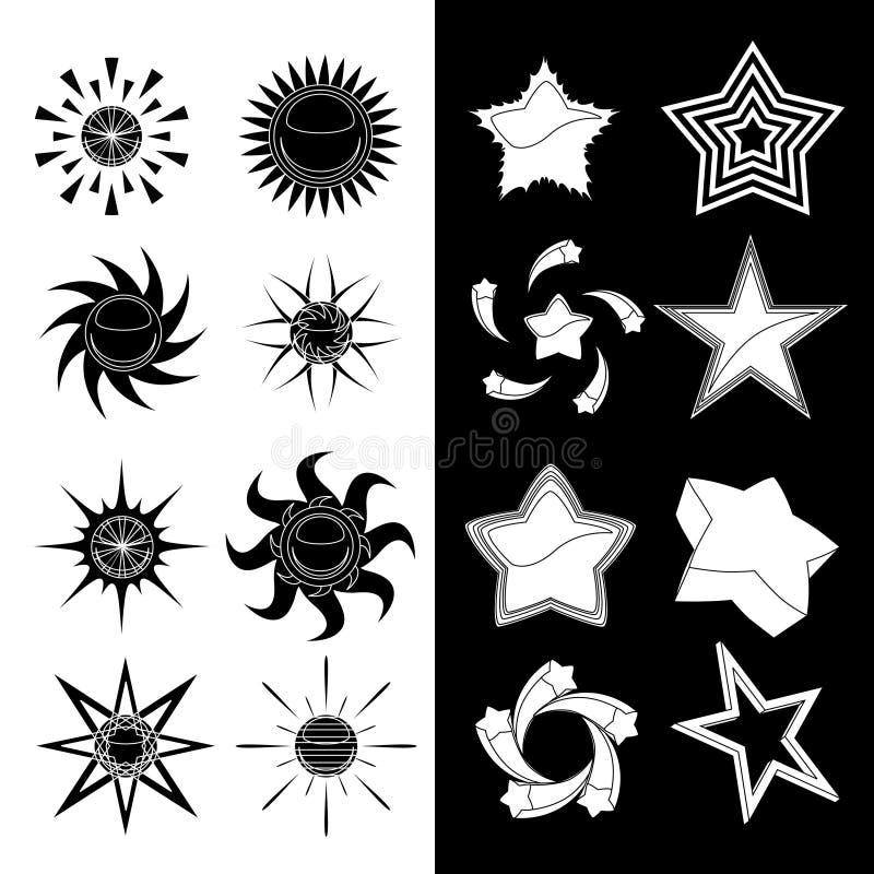 Jogo da estrela e do sol ilustração stock
