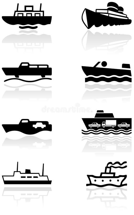 Jogo da ilustração do símbolo de barco. ilustração stock