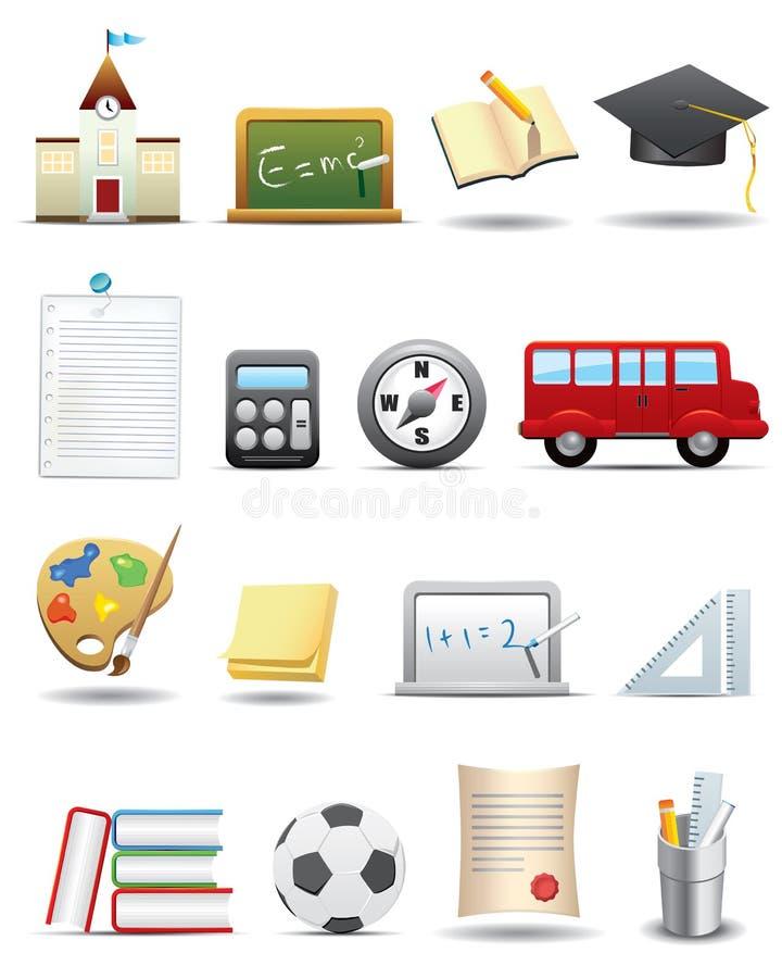 Jogo da instrução e do ícone da escola -- Série superior ilustração royalty free
