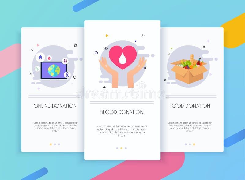 Jogo da interface de usuário das telas de Onboarding para o conceito móvel dos moldes do app da doação Sangue, em linha e caixas  ilustração stock