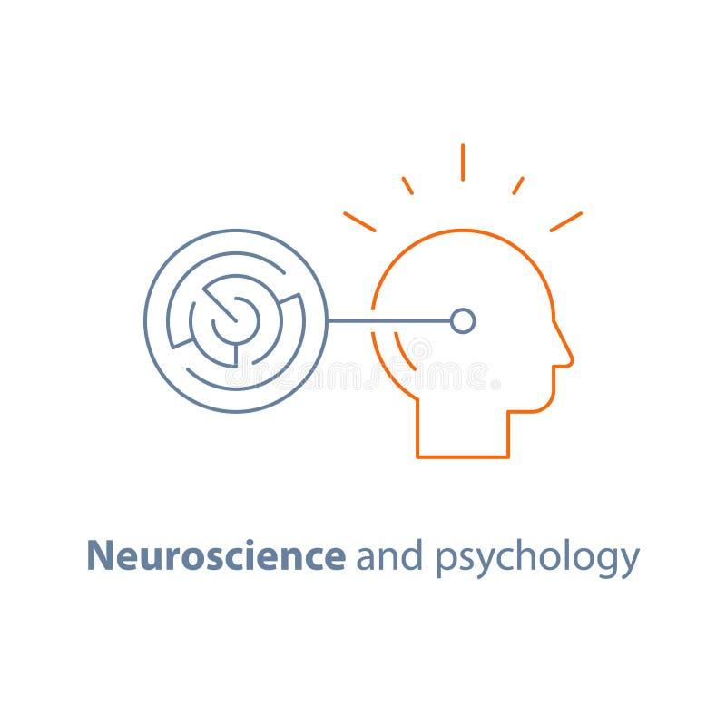 Jogo da lógica, conceito estratégico, labirinto do círculo, tarefa do treinamento do cérebro, habilidades cognitivas, soluções si ilustração royalty free