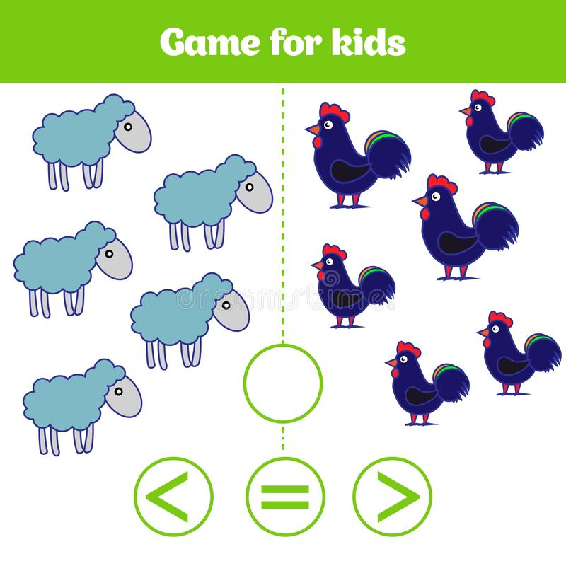 Jogo da lógica da educação para crianças prées-escolar Escolha a resposta correta Mais, menos ou ilustração igual do vetor Imagen ilustração do vetor