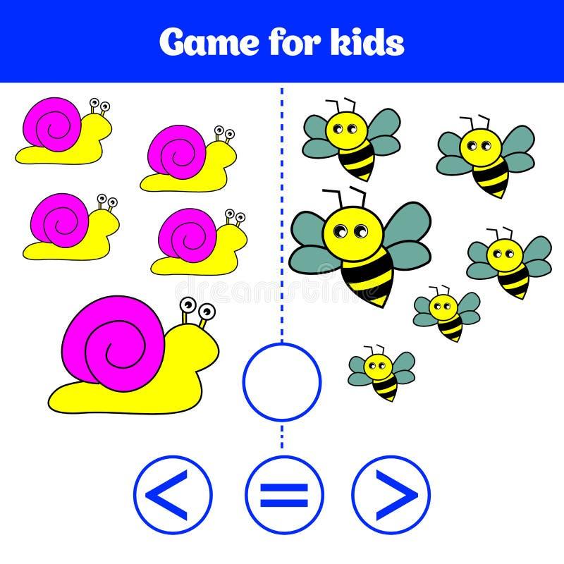 Jogo da lógica da educação para crianças prées-escolar Escolha a resposta correta Mais, menos ou ilustração igual do vetor Imagen ilustração stock