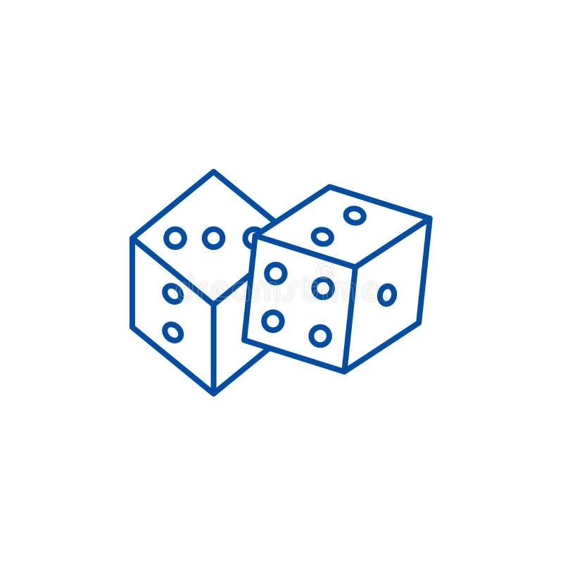 Jogo da linha conceito dos dados do ícone Jogo do símbolo liso do vetor dos dados, sinal, ilustração do esboço ilustração do vetor