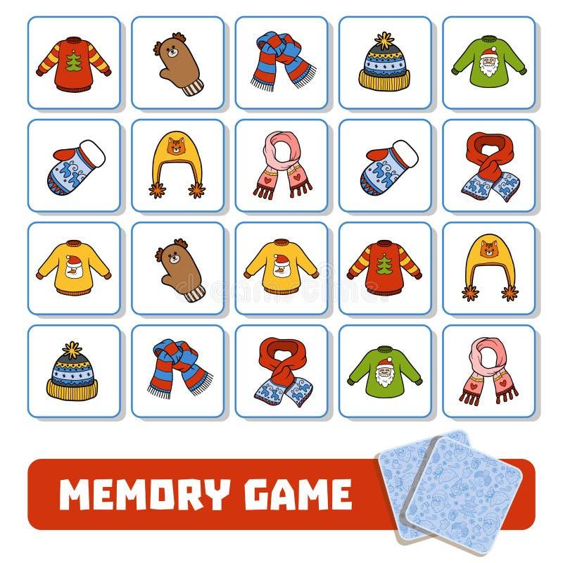 Jogo da memória para as crianças, cartões com acessórios do inverno ilustração stock