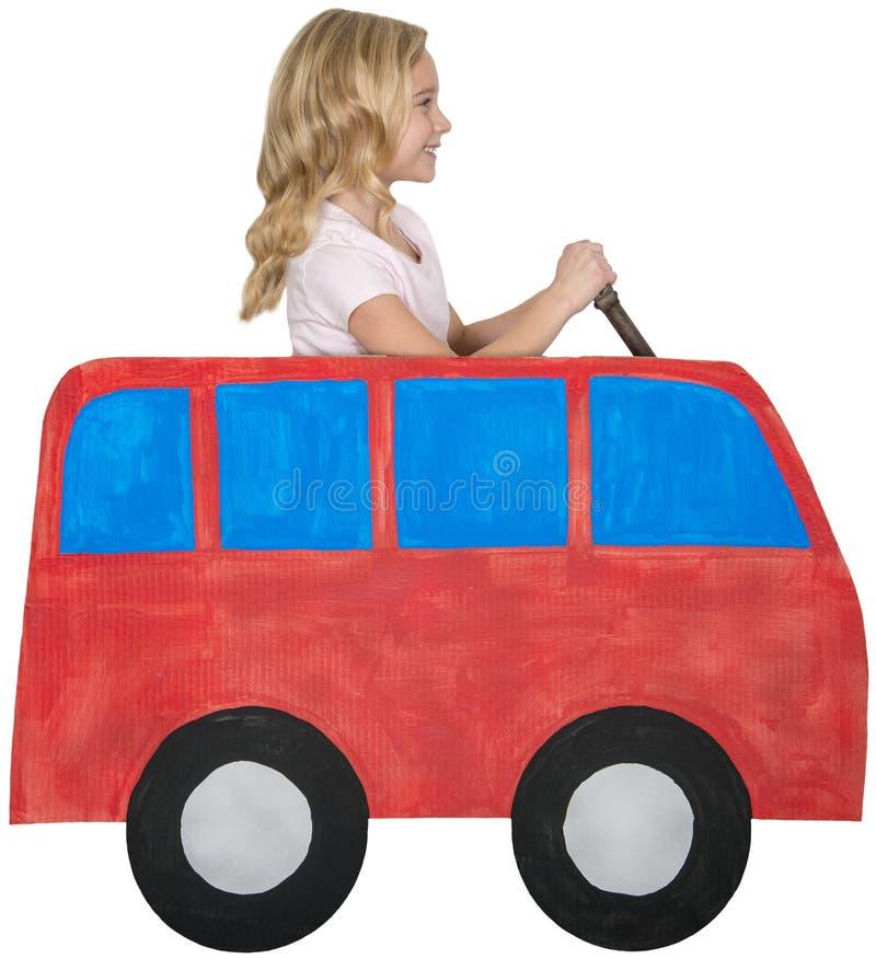 Jogo da menina, conduzindo Van, isolado fotos de stock