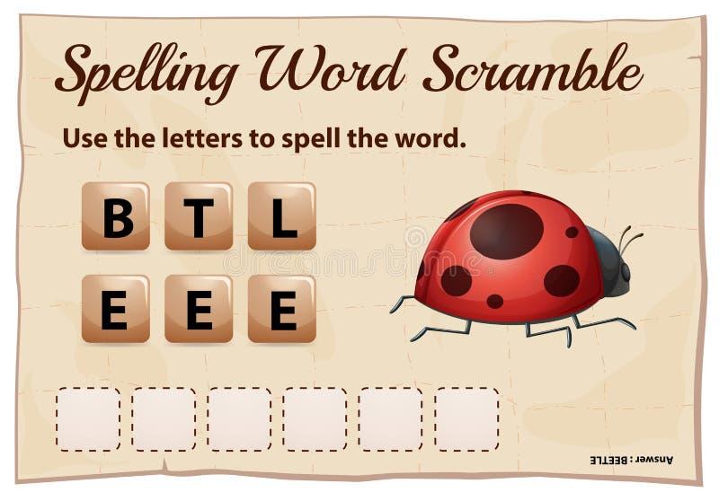 Jogo da precipitação da palavra da soletração para o besouro da palavra ilustração do vetor