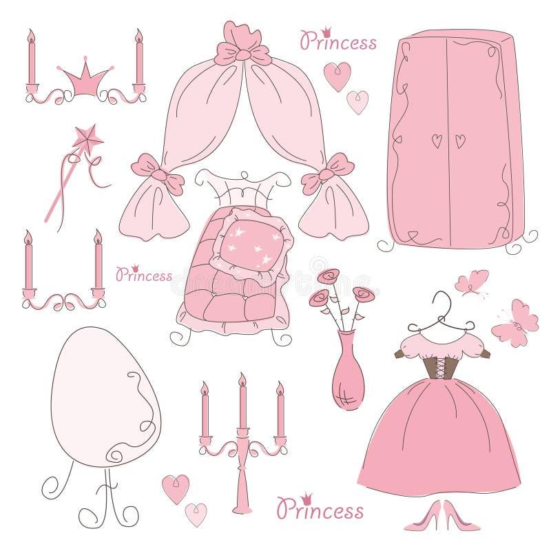 Jogo da princesa da mobília e do acessório ilustração stock