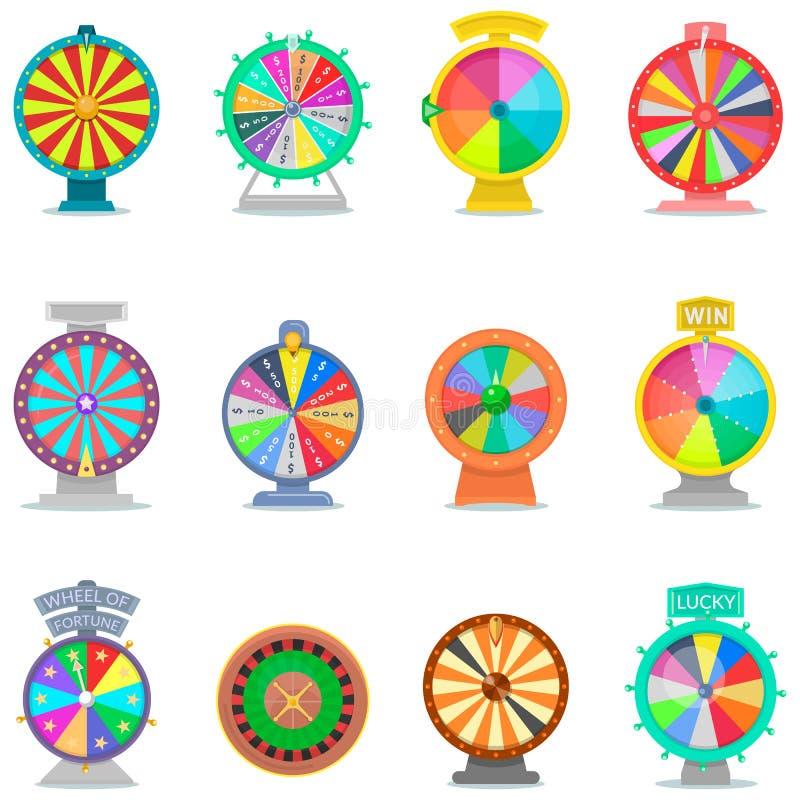 Jogo da rotação do vetor da roda da fortuna ilustração royalty free