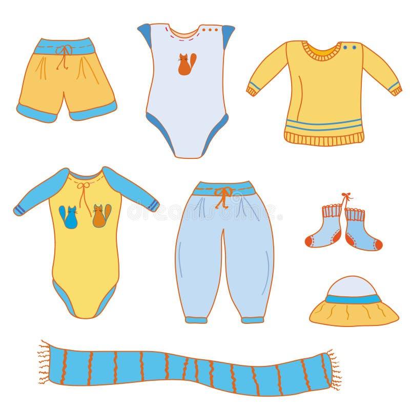 Jogo da roupa do bebé ilustração royalty free