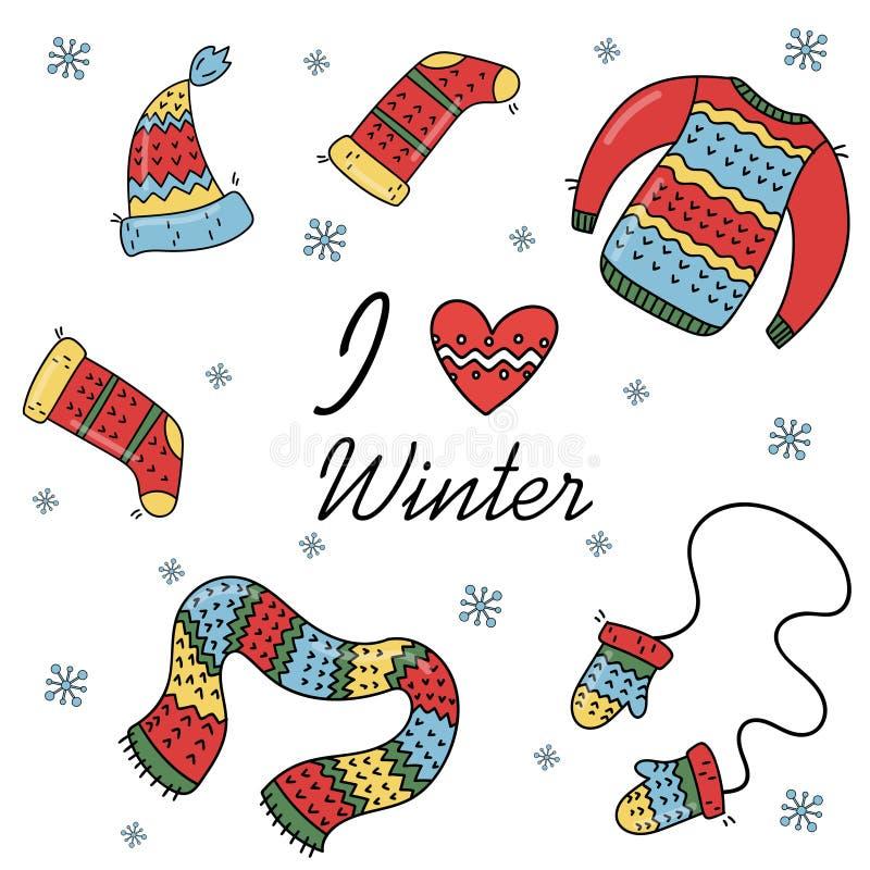 Jogo da roupa morna do inverno ilustração stock
