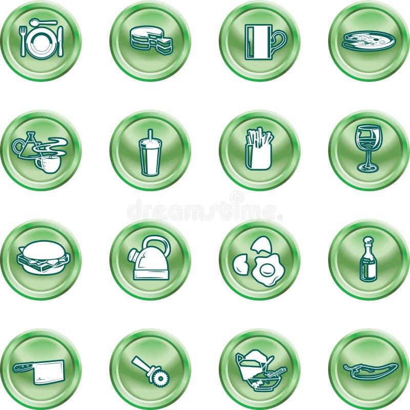 Jogo da série da tecla do ícone do alimento ilustração stock