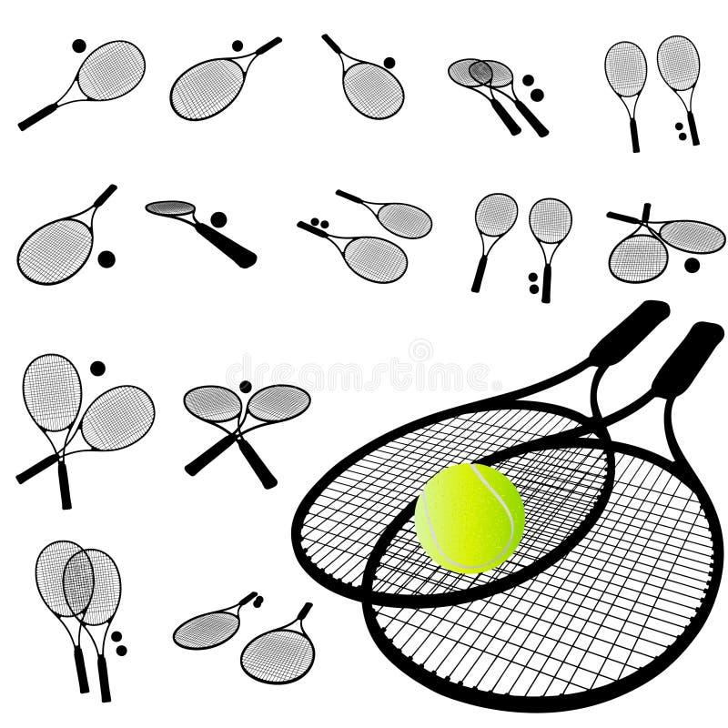 Jogo da silhueta da raquete de tênis ilustração royalty free