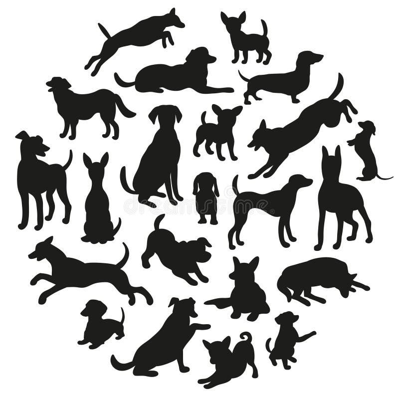 Jogo da silhueta dos cães Coleção da silhueta do vetor no círculo ilustração stock