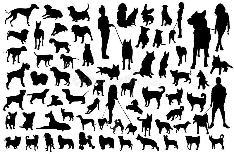Jogo da silhueta dos cães Grupo preto do vetor ilustração royalty free