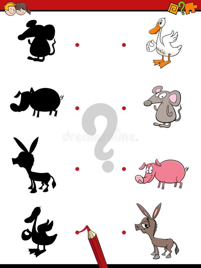 Jogo da sombra com animais ilustração do vetor