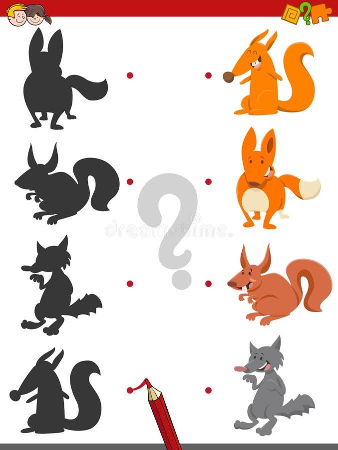 Jogo da sombra com animais selvagens ilustração royalty free