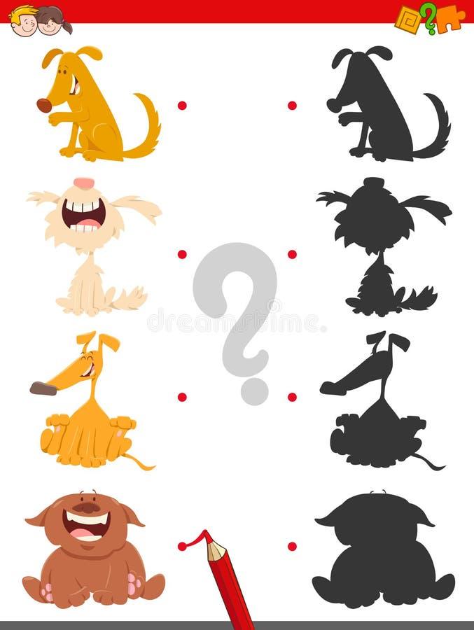 Jogo da sombra com caráteres do cão dos desenhos animados ilustração royalty free