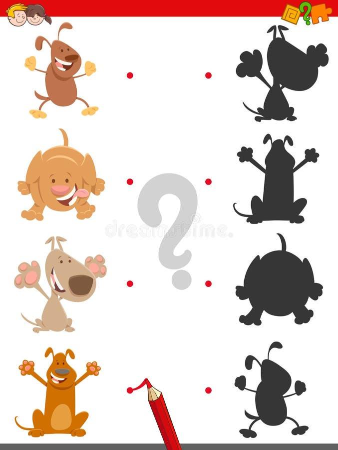 Jogo da sombra com os cães bonitos dos desenhos animados ilustração royalty free