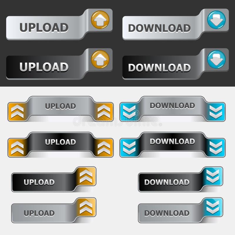 Jogo da tecla da transferência de arquivo pela rede e do Download ilustração stock