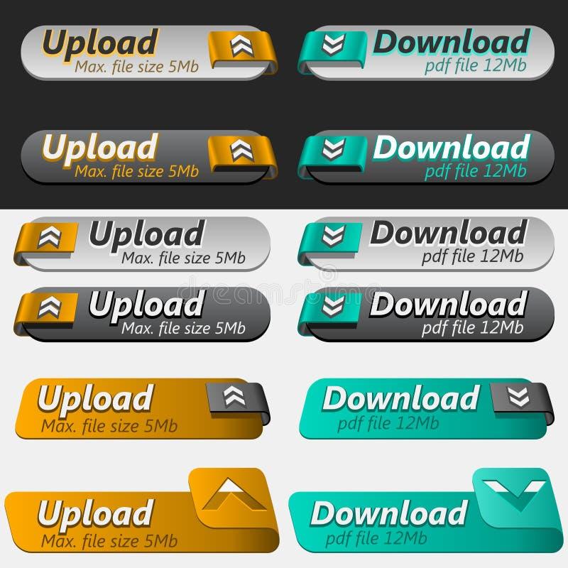 Jogo da tecla da transferência de arquivo pela rede e do Download ilustração do vetor