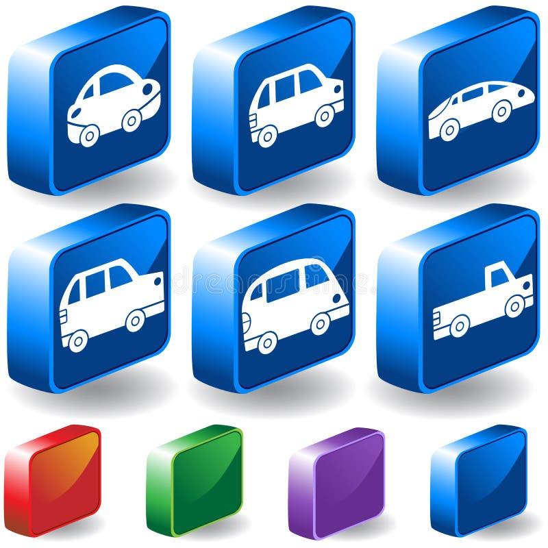 Jogo da tecla dos carros 3D ilustração do vetor