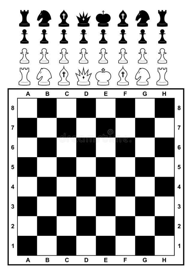 Jogo da xadrez e do tabuleiro de xadrez. ilustração stock