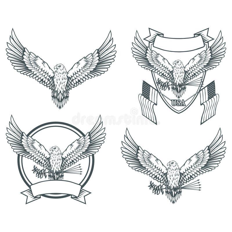 Jogo das águias Logotipo da águia americana Tiragem selvagem dos pássaros Cabeça de uma águia ilustração do vetor