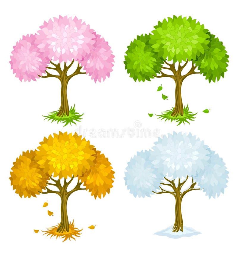 Jogo das árvores das estações diferentes ilustração do vetor