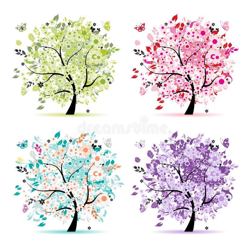 Jogo das árvores florais bonitas para seu projeto