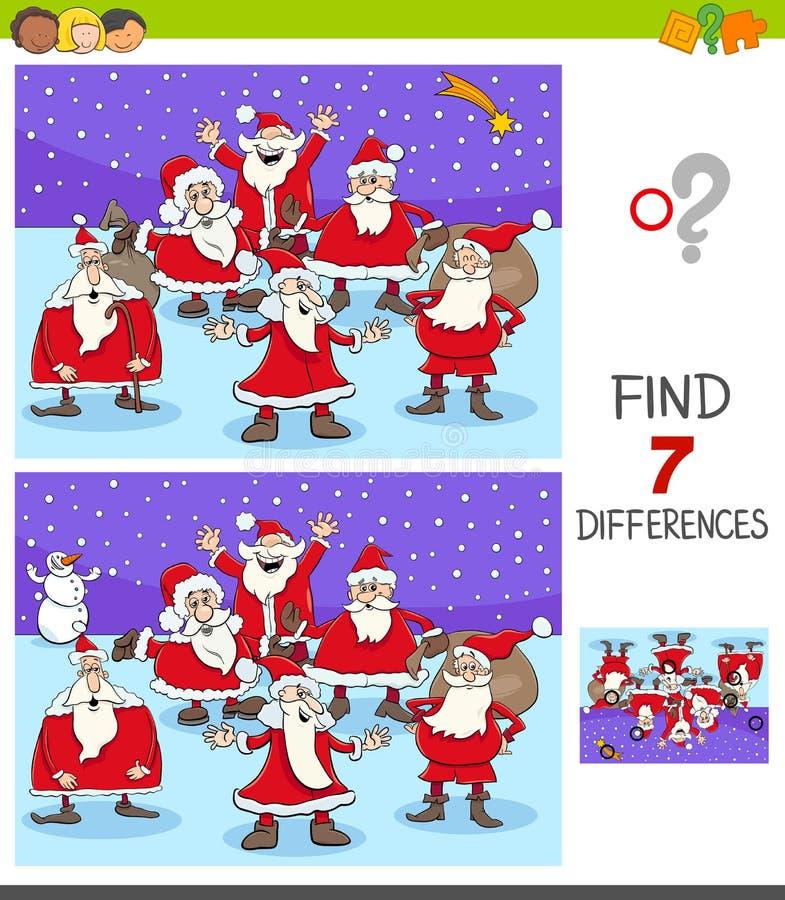 Jogo das diferenças com caráteres de Santa Claus ilustração stock