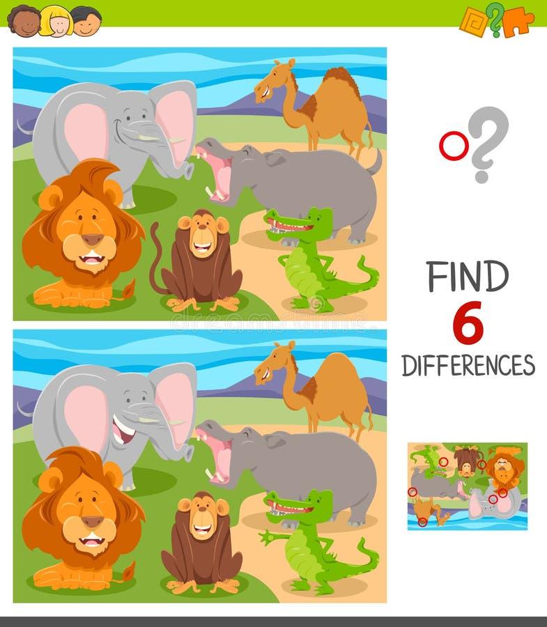 Jogo das diferenças do achado com animais dos desenhos animados ilustração royalty free
