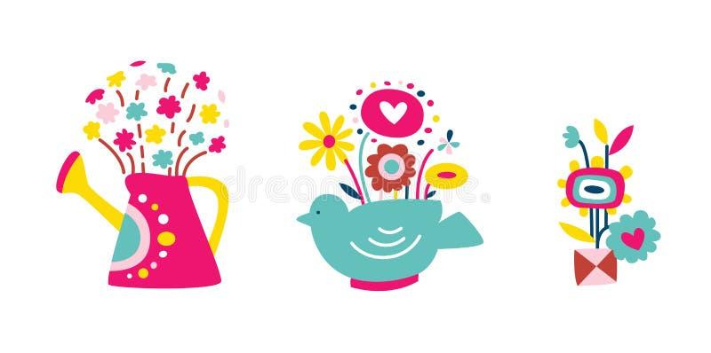 Jogo das flores nos vasos 2 ilustração do vetor