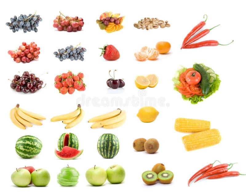 Jogo das frutas e verdura imagens de stock