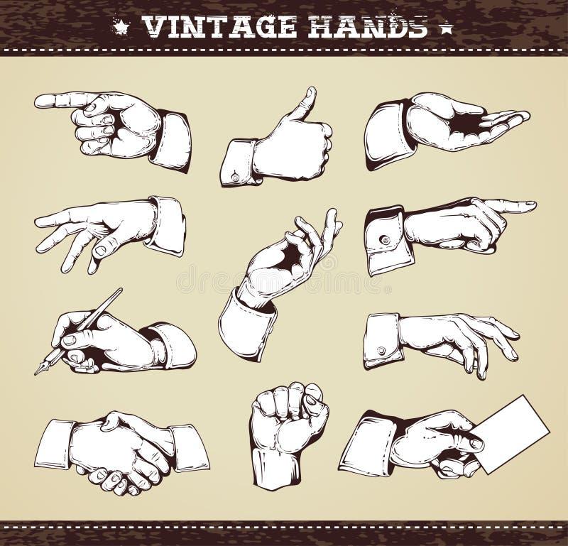 Jogo das mãos do vintage ilustração stock