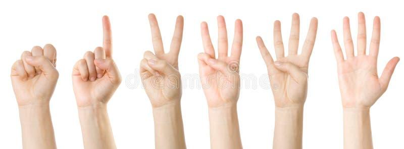 Jogo das mãos que fazem os números fotos de stock royalty free
