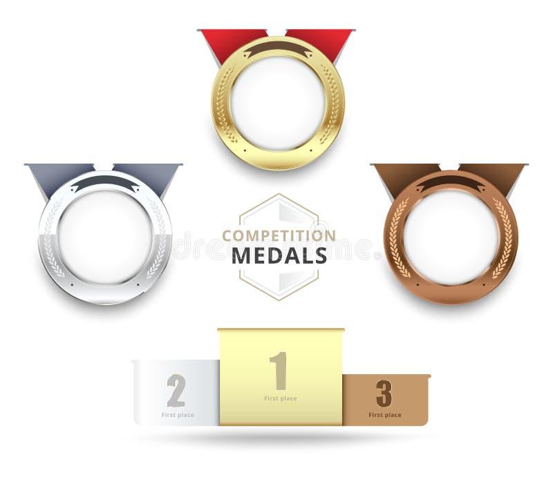 Jogo das medalhas do ouro, as de prata e as de bronze Estoque do vetor ilustração stock
