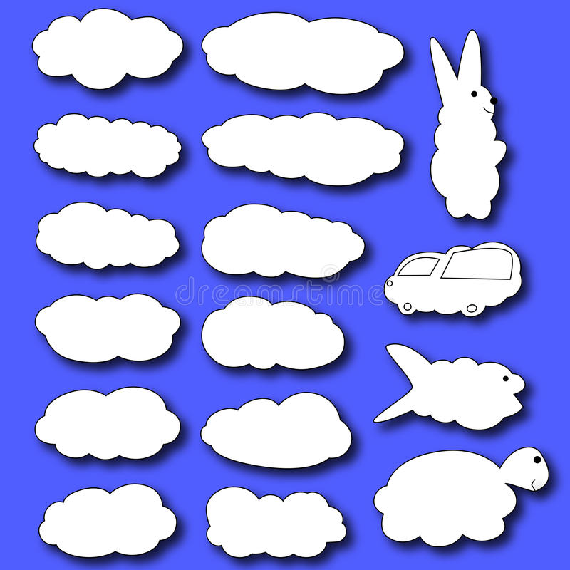 Jogo das nuvens Nuvens sob a forma dos animais ilustração do vetor