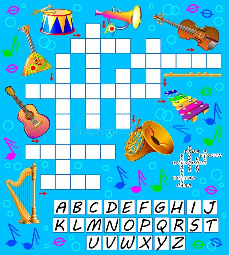 Jogo Das Palavras Cruzadas Com Instrumentos Musicais Página Educacional Para Crianças Para Palavras Do Inglês Do Estudo Ilustração do Vetor