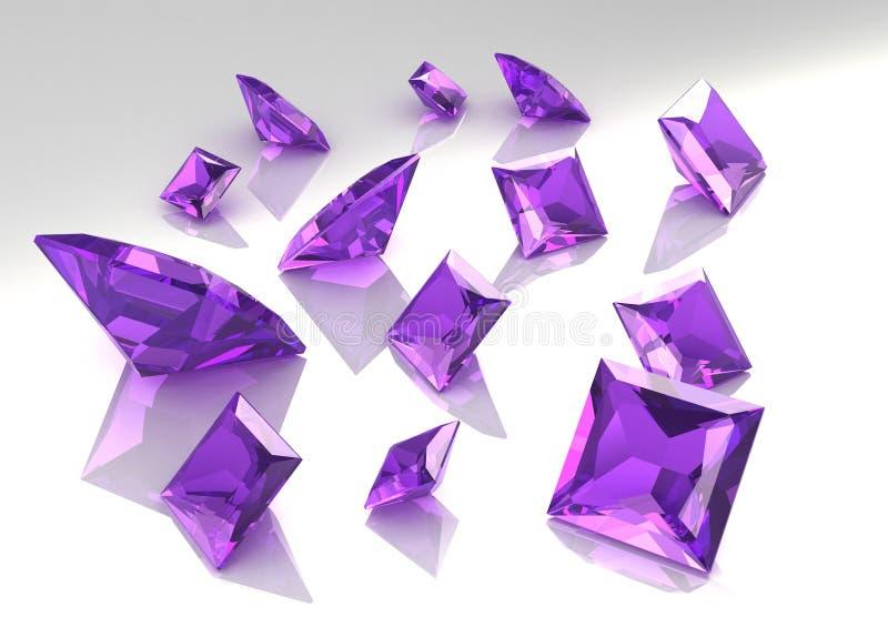 Jogo das pedras amethyst do lilac quadrado - 3D ilustração stock