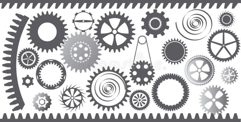 Jogo das rodas de engrenagem ilustração do vetor
