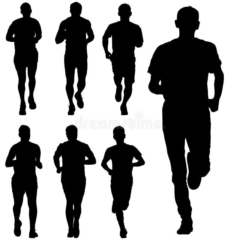 Jogo das silhuetas Corredores na sprint, homens Ilustração do vetor ilustração royalty free